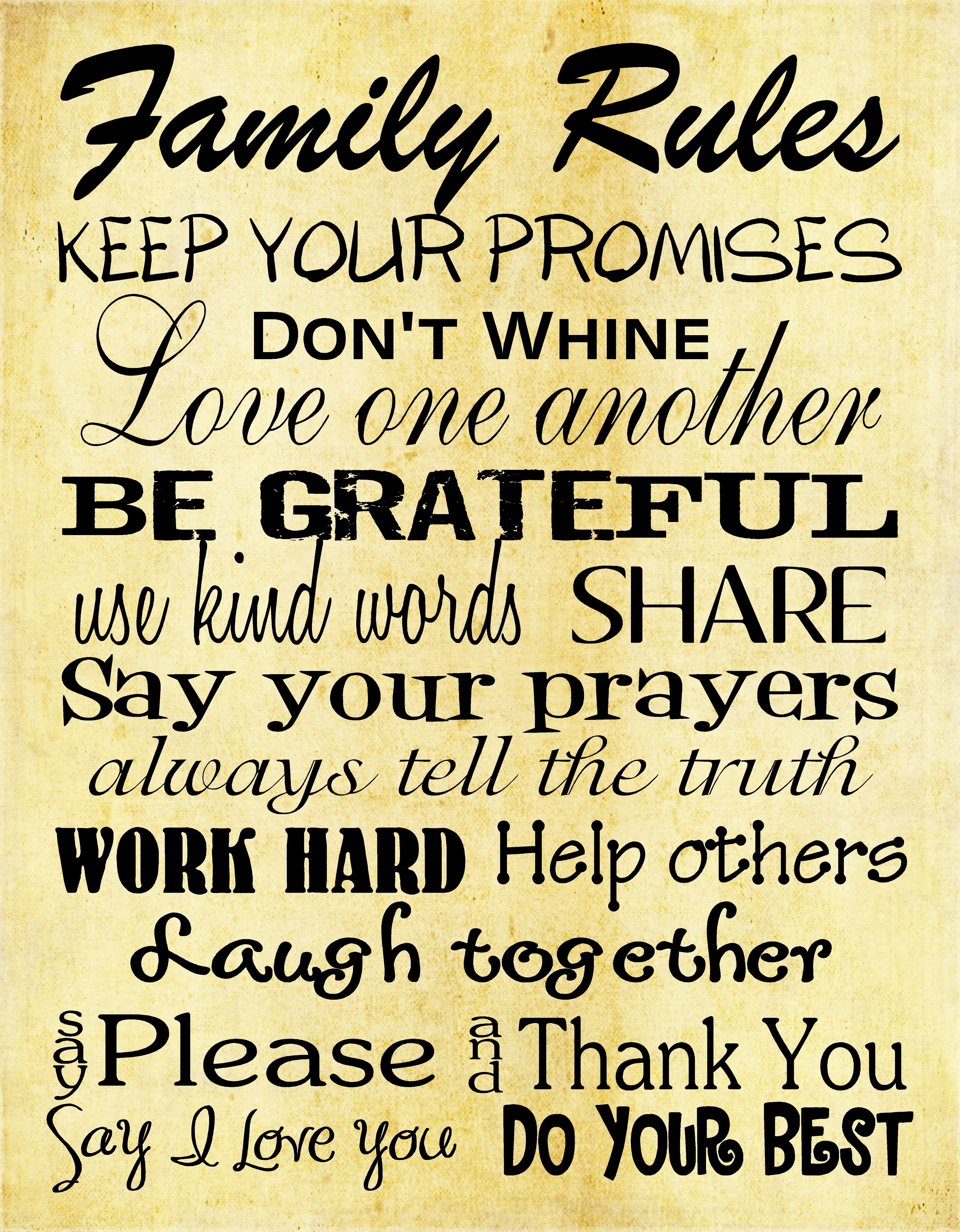 Amazing Family Rules Wall Decor Image Collection - Wall Art ...