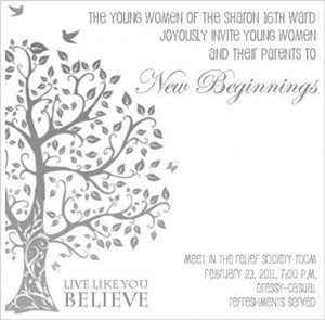 Live Like You Believe- YW New Beginnings Invitation and Program