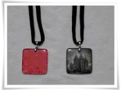 Glass Tile Necklace Pendant