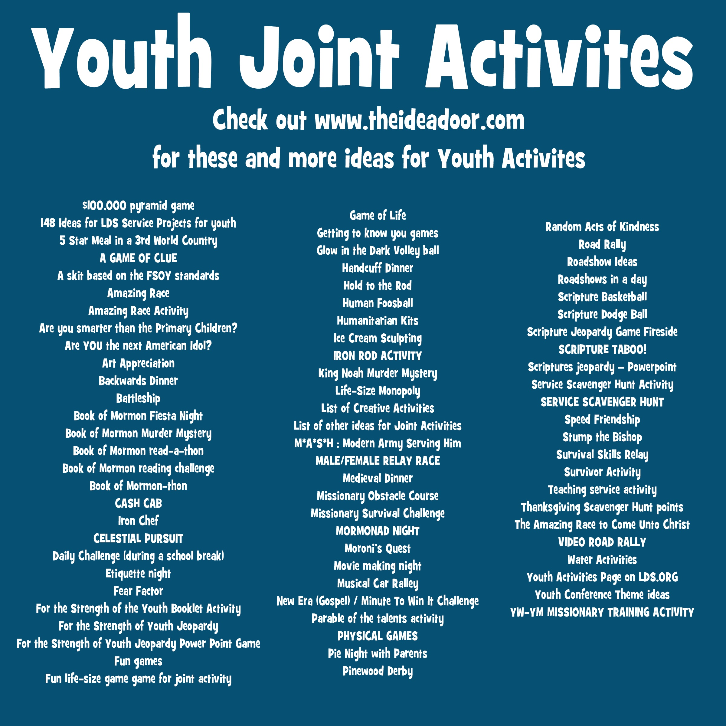 Youth Ministry Calendar Ideas : Youth joint activities the idea door