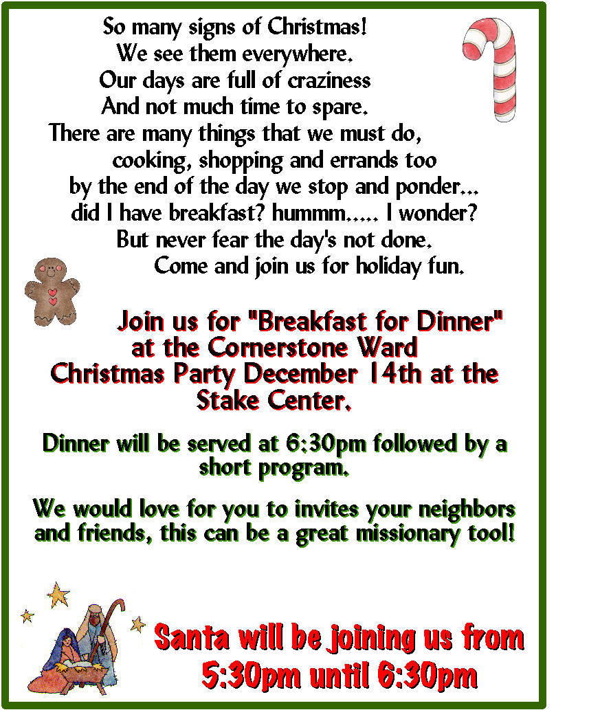 breakfast with santa (or evening party) – the idea door