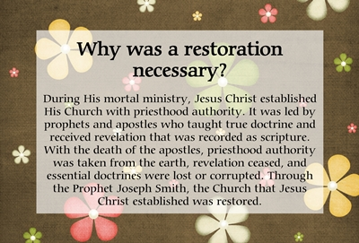 Why was a restoration necessary sm