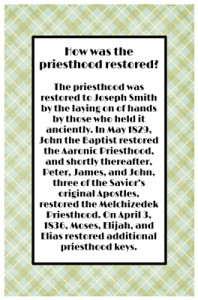 How was the priesthood restored?