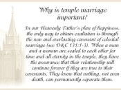 Why is temple marriage important?