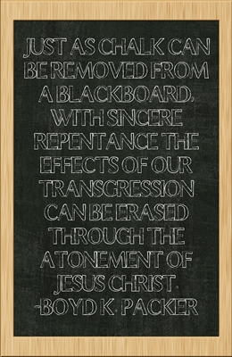 Just as chalk can be removed from a blackboard -Boyd K. Packer 4x6 sm