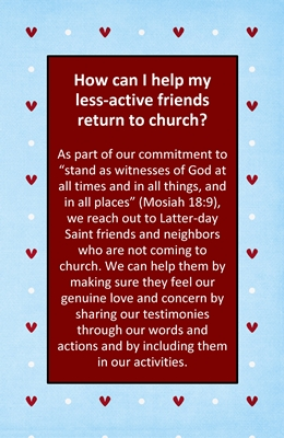 How can I help my less-active friends return to church sm