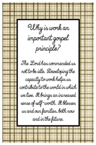 Why is work an important gospel principle?