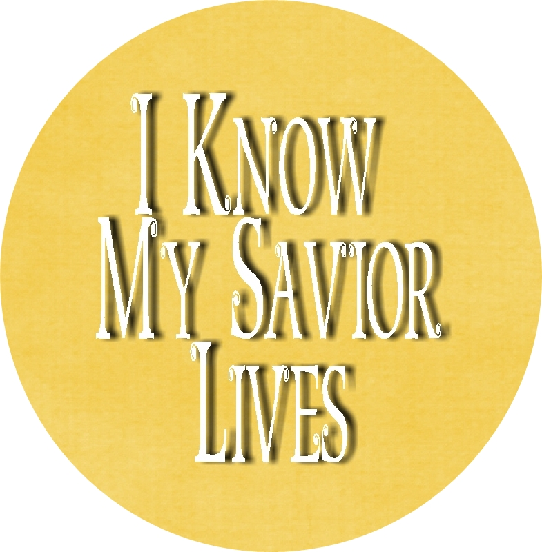 I Know My Savior Lives Bottle cap insets yellow 1 RD