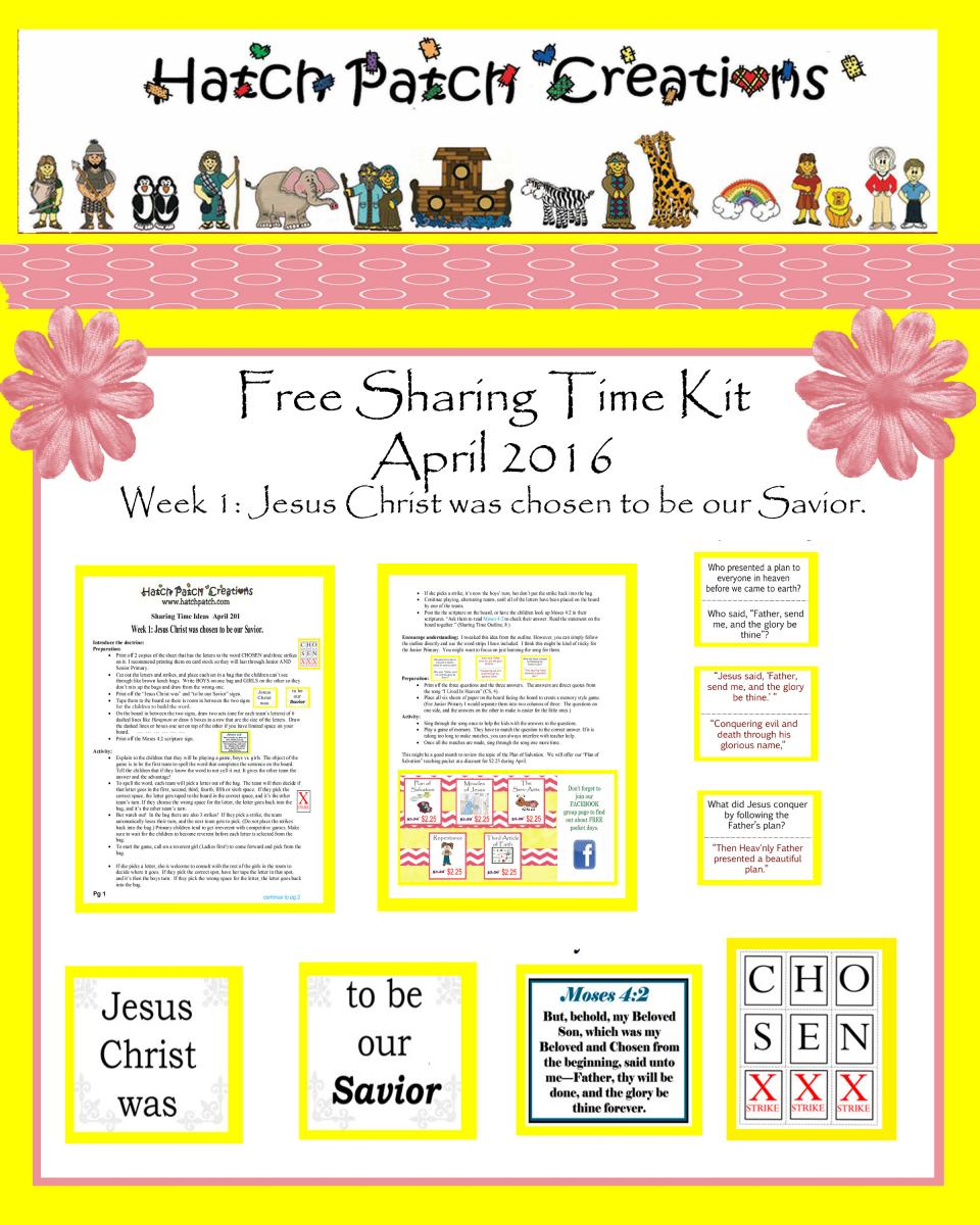 April 2016 Sharing Time Ideas