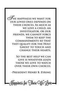 Jan 2016 Home Teaching Handout: Happiness for Those We Love