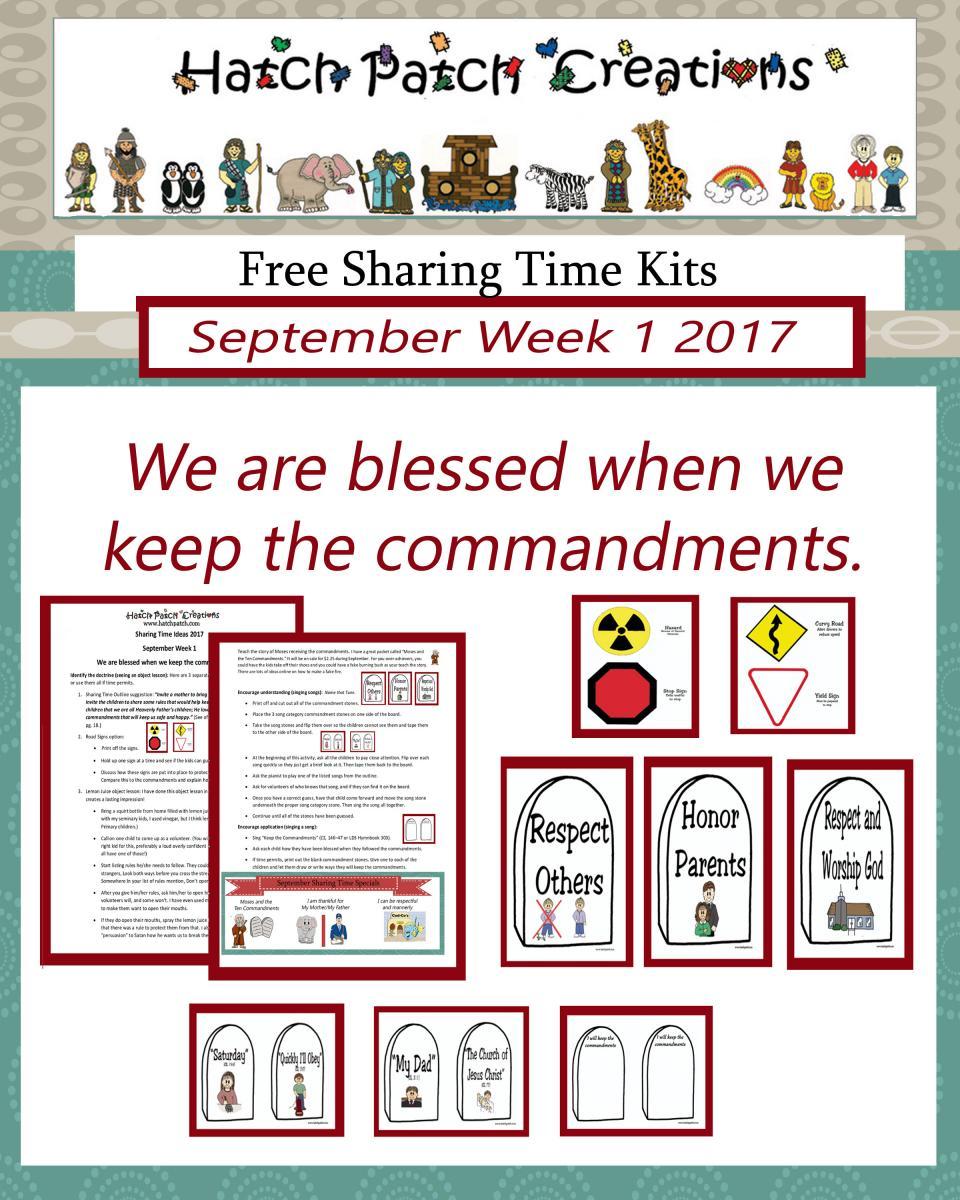09 September 2017 Sharing Time Ideas -The Ten Commandments Teach Me ...