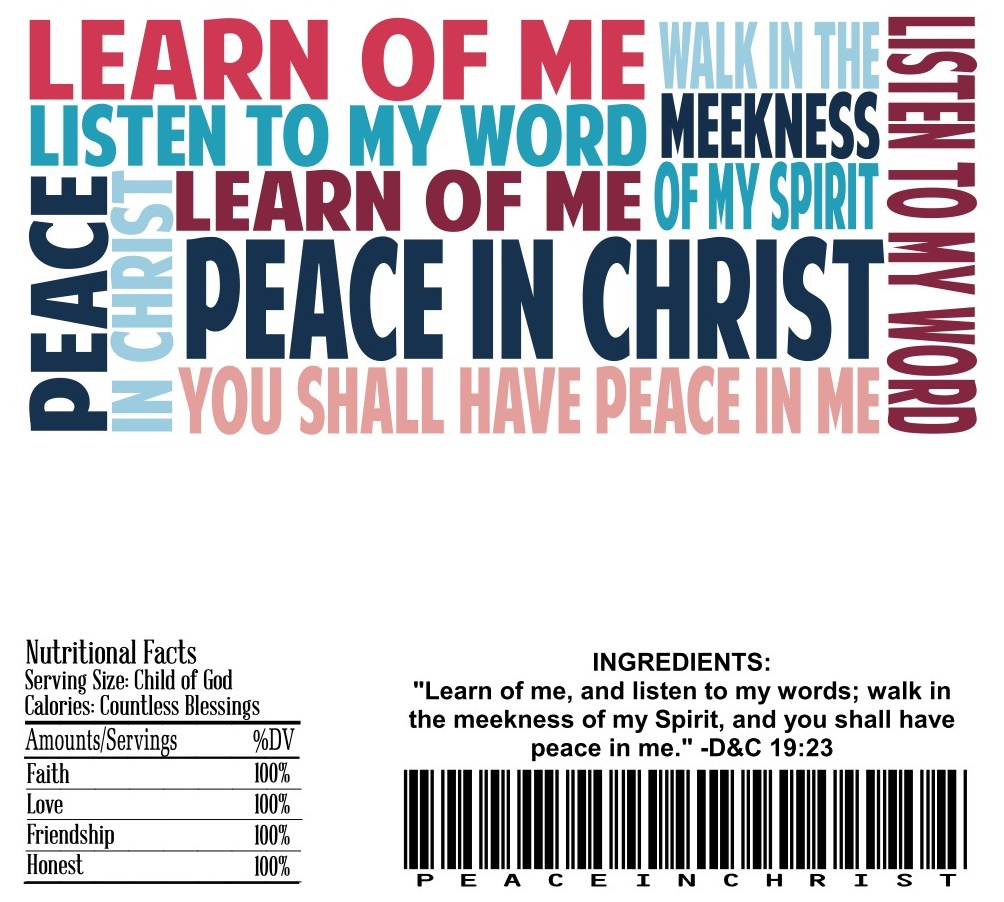 candy bar wrappers peace in christ themed