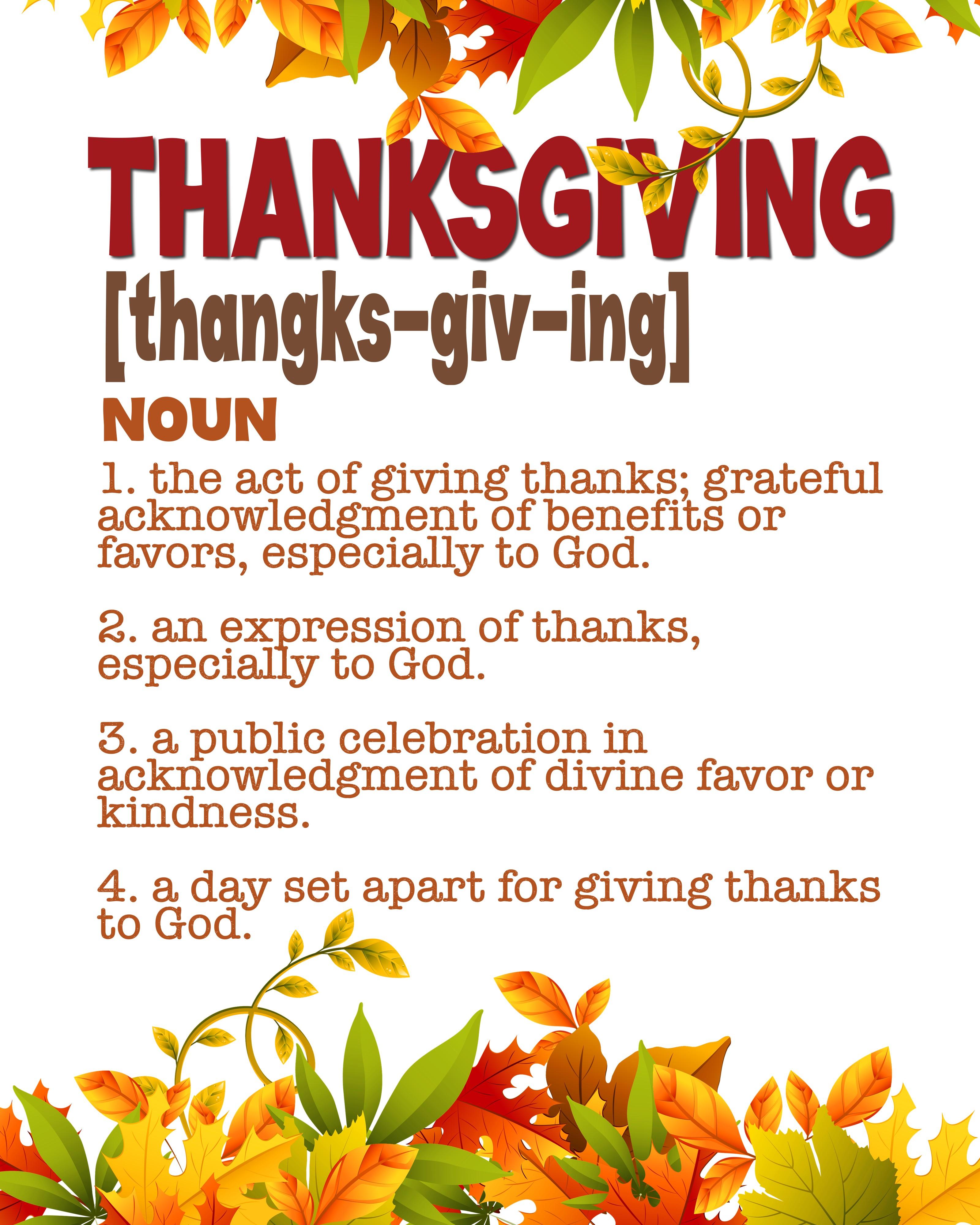 Thanksgiving Print Definition The Idea Door